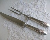 2 Rogers Silver First Love Carving Set Knife Fork Guards 1937 /