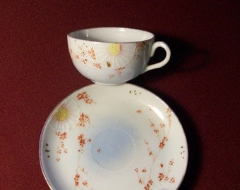 Hand Painted Demitasse Cup and Saucer //