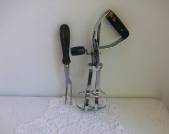2 Silver Ekco Egg Beater Mixer & Boye Serving Fork Black Wood Handles USA //