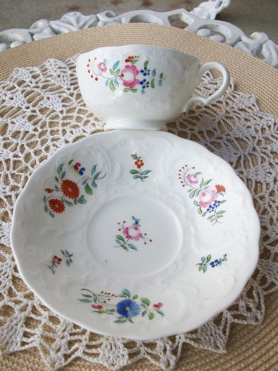 Floral Tea Cup and Saucer Cheerful Coffee Cottage Chic /