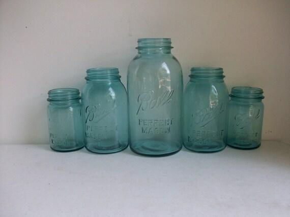5 Aqua Blue Ball Perfect Mason Jars 1 Half Gallon 2 Quarts Pints Canister  Wedding Farmhouse  Instant Collection /