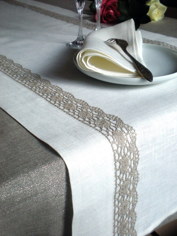 Wedding Table Runner Occasion Linen Table Runner Shabby Chic Runner White With Natural Lace Runner Eco friendly Linen Runner