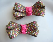 Chloe - Boutique bow hair clips in brown polka dot ribbon
