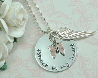 Forever in my heart Butterfly Necklace with WING