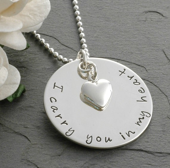 In remembrance - Memorial necklace - I carry you in my heart - Remembrance Jewelry - Sympathy