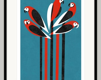 A Prattle of Parrots by Lo Cole - Limited edition archival pigment ink print
