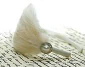 Feather and pearl headband- white or ivory