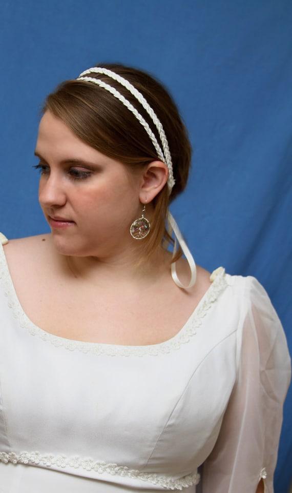 Bridal double braided headband-cream- Ready to ship