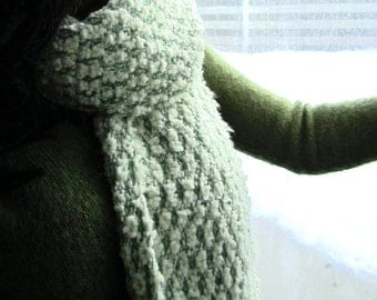Chunky Winter Scarf, Handwoven Long Fringe Scarf in Jade Green and Pale Yellow Rayon Silk and Novelty Yarn, Womens Woven Scarves