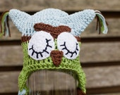 Crochet sleepy owl beanie ear flap hat in browns, greens and blues... Twit Twoo..