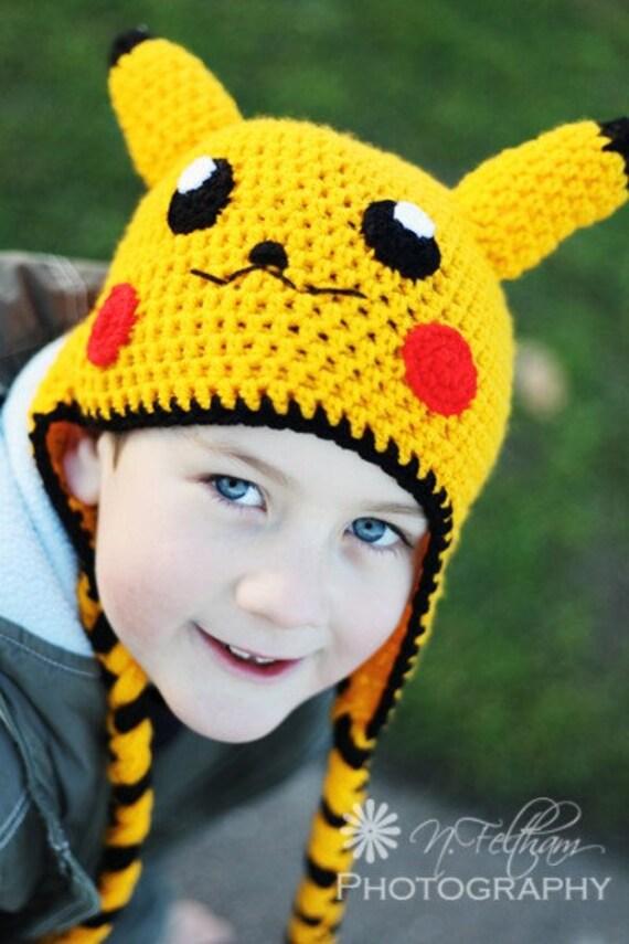 Items similar to Pokemon Pikachu Yellow Crochet Beanie Ear ...