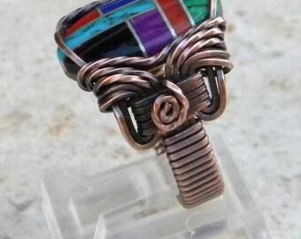 Southwest Ring, southwestern ring, Native American ring, turquoise ring, indian ring, turquoise and coral ring, unisex turquoise ring