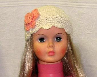 Girl's Cream Cloche Hat, Girl's Cream Summer Hat, Girl's Cream Spring Hat, Girl's Hat with Flower