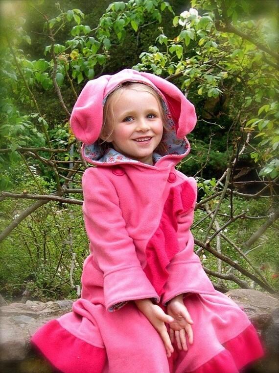 Child's Jacket/ Bunny Coat/ Rose Garden Rabbit with raspberry trim size 5 / 6