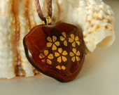 Gold Cherry Blossoms Amber Fused Glass Pendant Necklace