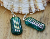 Dangle Earrings Emerald Green Dichroic Fused Glass Long Dangle Earrings