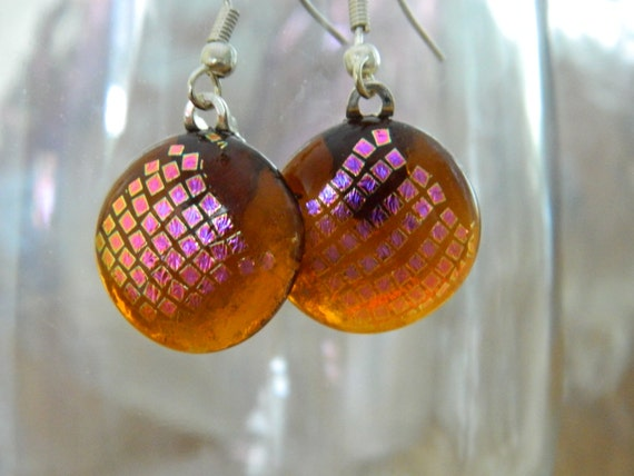 Earrings Dangle Fused Glass Amber Dichroic Squares