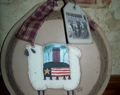 Handpainted Primitive Sheep, Pie Pan Hanger