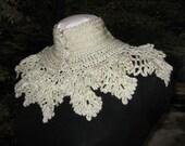 Crocheted Collar, Elegant, Lacy, Ruffled, Victorian Style Collar, Austrian Crystal Buttons, Handmade, Boho, Fantasy, Trish Designs Original
