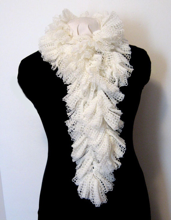 Hand Crocheted, Ruffled Scarf, Romantic Ruffles, Lacy, Feminine, Winter White, Hand Made, High Fashion, Luxurious Ruffles, Victorian, Gift