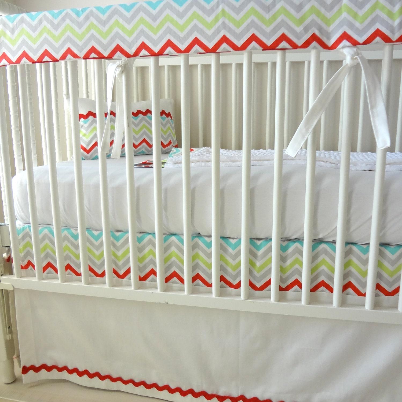 Merry Go Round Chevron Bumperless Crib bedding by BabyMilanBedding