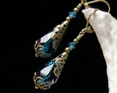 Peacock Blue Zircon Victorian Earrings, Dark Aqua Teal Crystal Edwardian Bridal Drops, Antiqued Brass Filigree, Titanic Temptations Jewelry