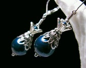 Peacock Blue Crystal Pearl Dangle Drop Victorian Earrings Antique Silver Filigree Titanic Temptations Vintage Steampunk Bridal Style Jewelry