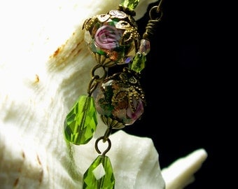 Lime Green & Pink Rosebud Crystal Dangle Drop Victorian Earrings Antiqued Gold Filigree Titanic Temptations Vintage Steampunk Bridal Jewelry