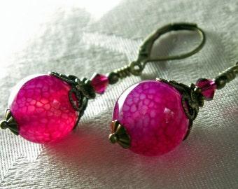 Hot Pink Fuchsia Dragon Vein Crystal Drop Steampunk Earrings Antiqued Bronze Filigree Titanic Temptations Vintage Victorian Bridal Jewelry