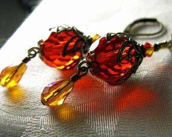 Orange Fire Opal Crystal Dangle Drop Victorian Earrings, Antiqued Gold Bronze Filigree, Titanic Temptations Vintage Steampunk Bridal 12029