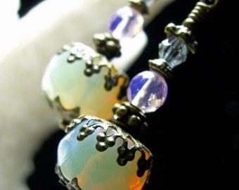 White & Pink Sea Opal Crystal Jeannie Bottle Drop Steampunk Earrings Antique Gold Filgree Titanic Temptations Victorian Bridal Style Jewelry