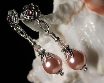 Light Pink Crystal Pearl Victorian Earrings, Rosebud Dangle Drop Antiqued Silver Filigree Titanic Temptations Edwardian Bridal Style Jewelry