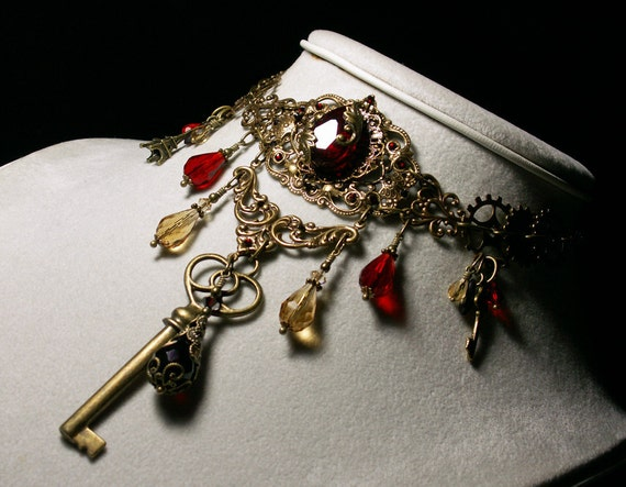 Blood Red Crystal Victorian Choker Skeleton Key Drop Steampunk Necklace Antiqued Brass Filigree Titanic Temptations Edwardian Bridal 12019