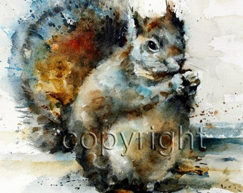 SQUIRREL Watercolor Print, Squirrel Painting, Animal Art by Dean Crouser