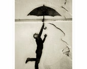 Paris street art / graffiti, man with umbrella, stencil, Black and White Photography urban art 8x12, 10x15, 16x24, 20x30 Original Photograph