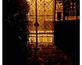 Wrought Iron Gate - Paris, night, shadows, golden light, courtyard - 5x7 - Original Fine Art Photograph