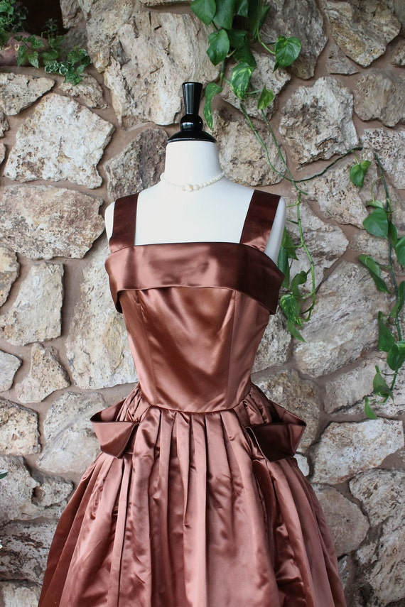 1940s Hollywood Evening Gowns: Reserved 1940s Copper Gown // Hollywood Glamour // Full