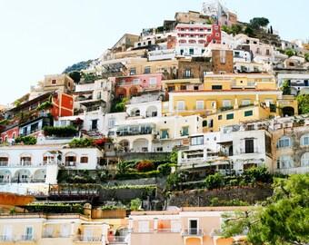 Amalfi Coast Photography - Italy Photograph - Cliffside Homes of Positano Photo Colorful Italian Coastal Print Wall Art Italy Decor