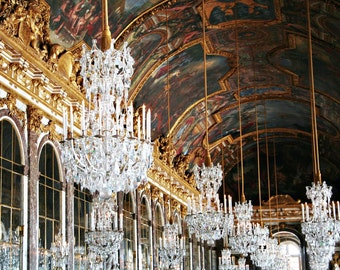 SALE 50% OFF - Hall of Mirrors Photography - Versailles Chandelier Print - French Decor Elegant Gold Crystal France Photo Dining Room Art