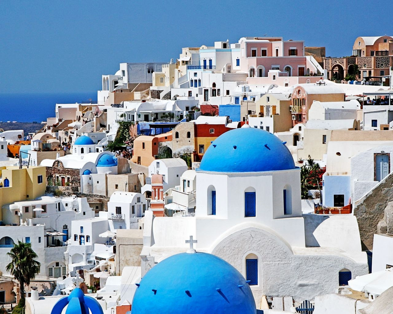 Santorini Greece Photography Travel Photography Cobalt Blue Domes White Church Photo Greek Islands Picture