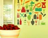 Kitchen utensils wall decal Sticker -  Kitsch Collection - mid century kitchen design