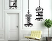 Trio of Birdcages Wall Decal - bedroom, office kids room, nursery bathroom kitchen decor - large wall decor