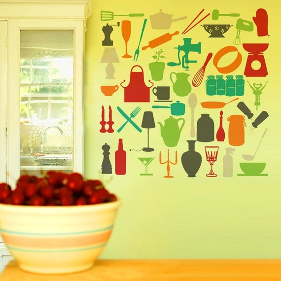 Cooking Decal Kitchen Decor in Scandinavian Style - Mid Century Modern Cooking Wall Decor - Kitchen Utinsels Wall Decals - WB025