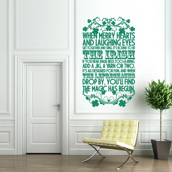 St Patrick's Day Wall Decal Sign - The Irish - holiday home decor