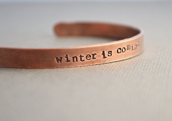 Game of Thrones Winter is Coming Copper Bracelet Cuff Hand Stamped