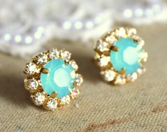 Mint Opal earrings Mint Swarovski stud earrings,bridesmaids jewelry,bridal earrings Mint Turquoise Bridesmaids Stud Earrings Gift for her.