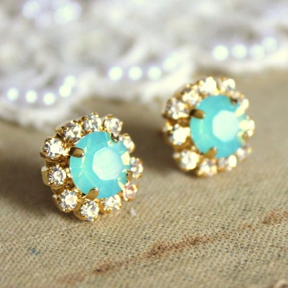 Mint Opal earrings Mint Swarovski stud earrings,bridesmaids jewelry,bridal earrings Mint Turquoise Bridesmaids Stud Earrings Gift for her.