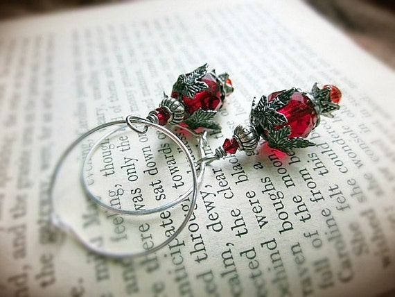 Flower Earrings, Red Czech Glass Beads and Antiqued Silver Hoops