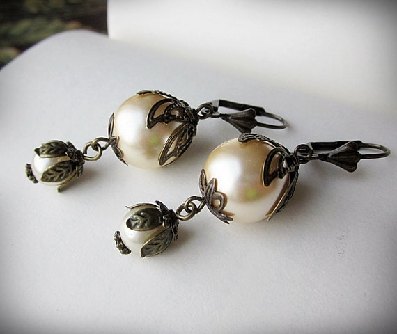 Pearl Earrings, Vintage Inspired Dangle, in Czech Glass and Antiqued Brass