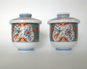 Vintage Japanese Tea Cups with Lids Set of 2